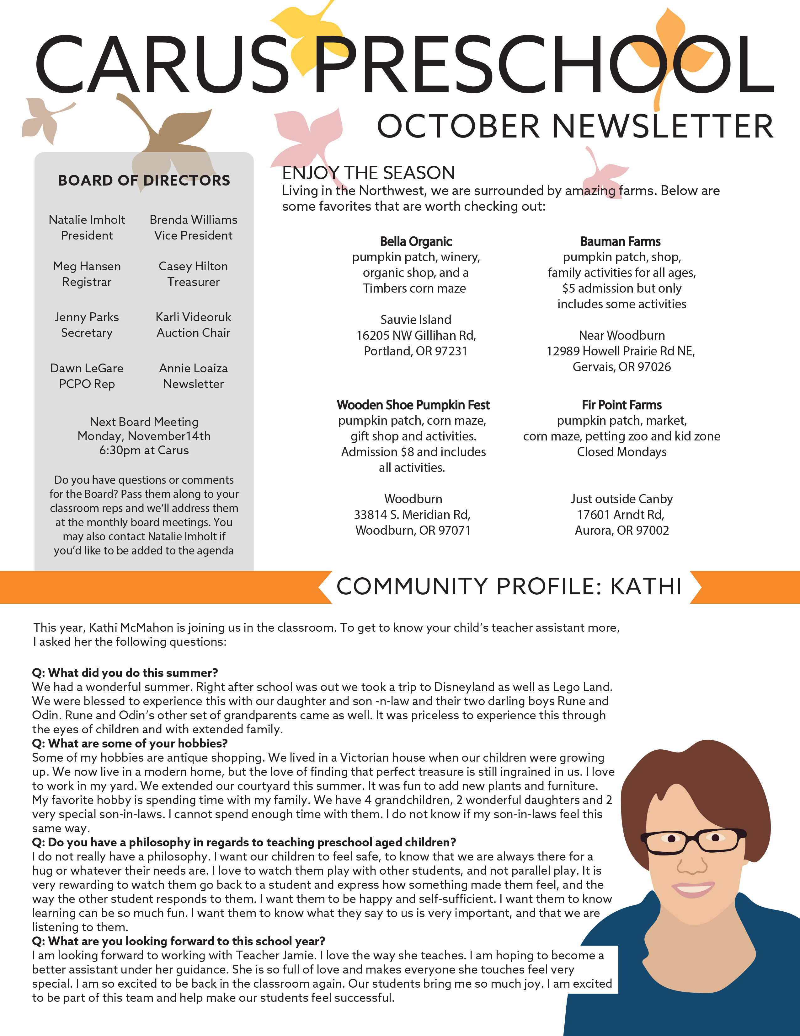 2016_October-back October Pre Newsletter Template on printable downloadable, free downloadable preschool,